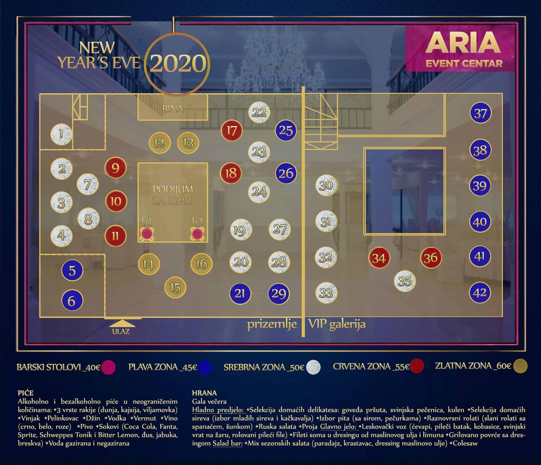 Docek Nove godine 2020 Beograd Aria Event Center mapa
