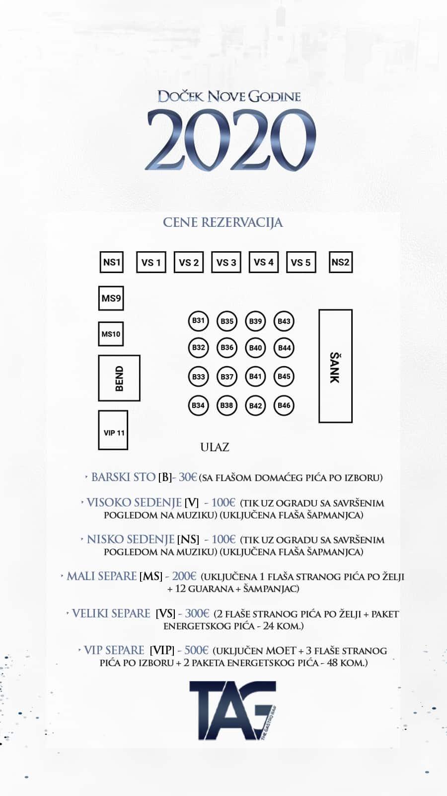 Docek Nove godine 2020 Beograd Splav Tag mapa donji nivo