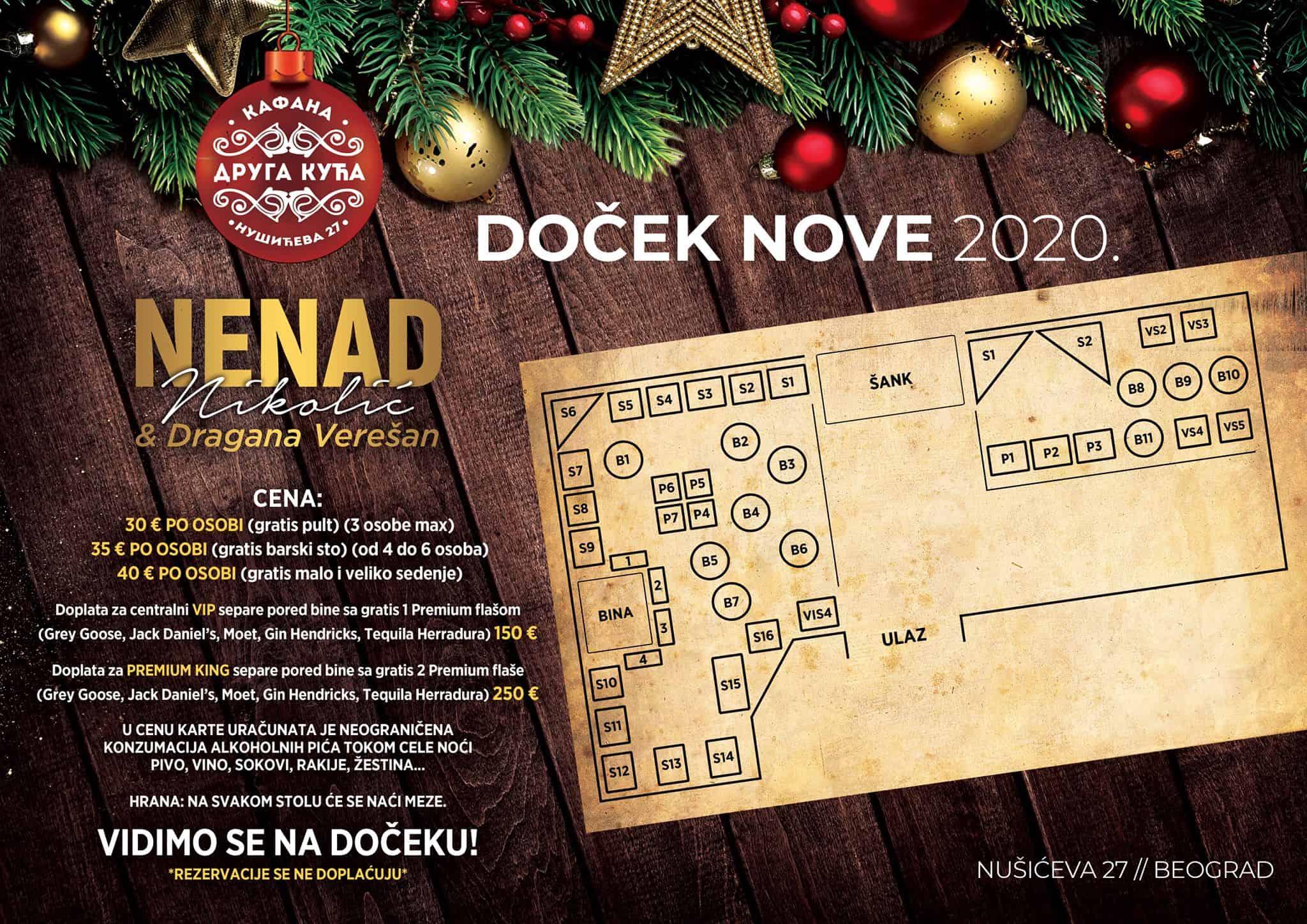 Docek Nove godine Beograd 2020 Kafana Druga Kuća mapa