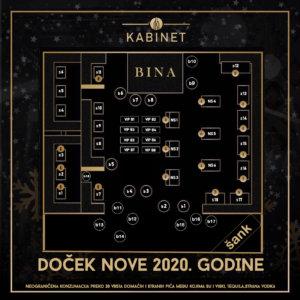 Docek Nove godine 2020 Beograd klub Kabinet mapa nova