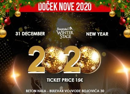 Docek Nove godine Beograd 2020 Klub Freestyler Winter Stage baner