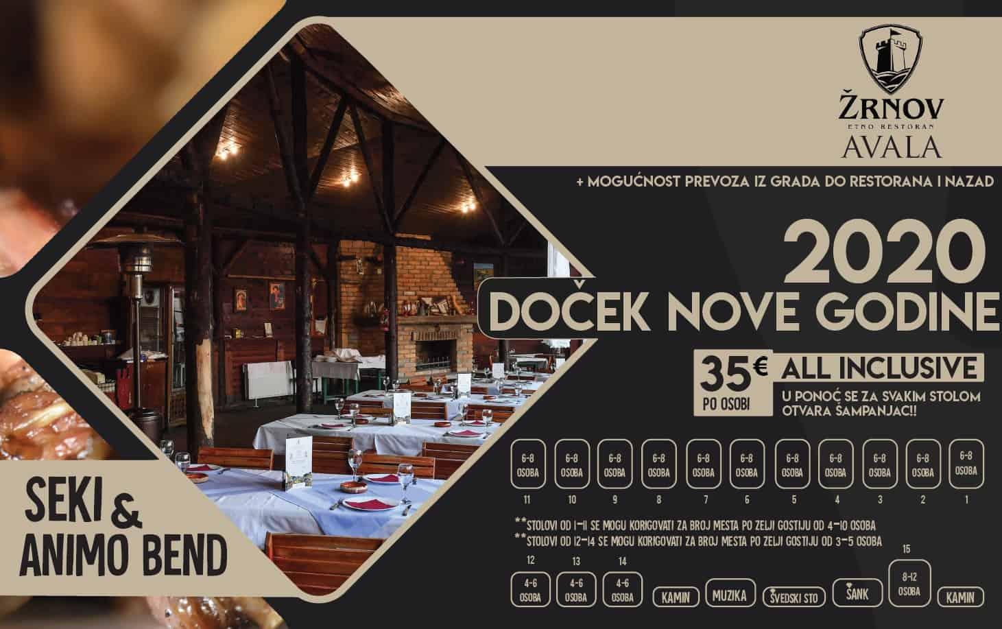 Docek Nove godine Beograd 2020 Restoran Zrnov Avala mapa