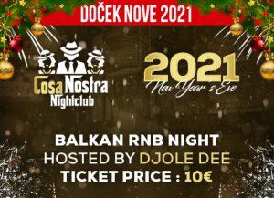 Klub Cosa Nostra doček Nove godine 2021 Beograd