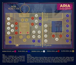 Aria Event Centar mapa sa rasporedom stolova za doček Nove godine 2022 Beograd