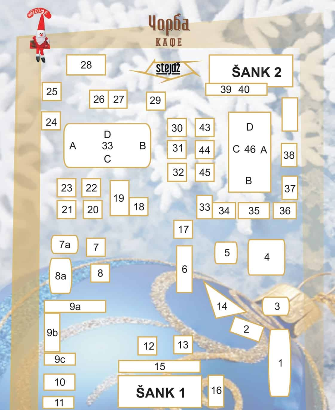 Čorba Kafe mapa sa rasporedom stolova za doček Nove godine 2022 Beograd
