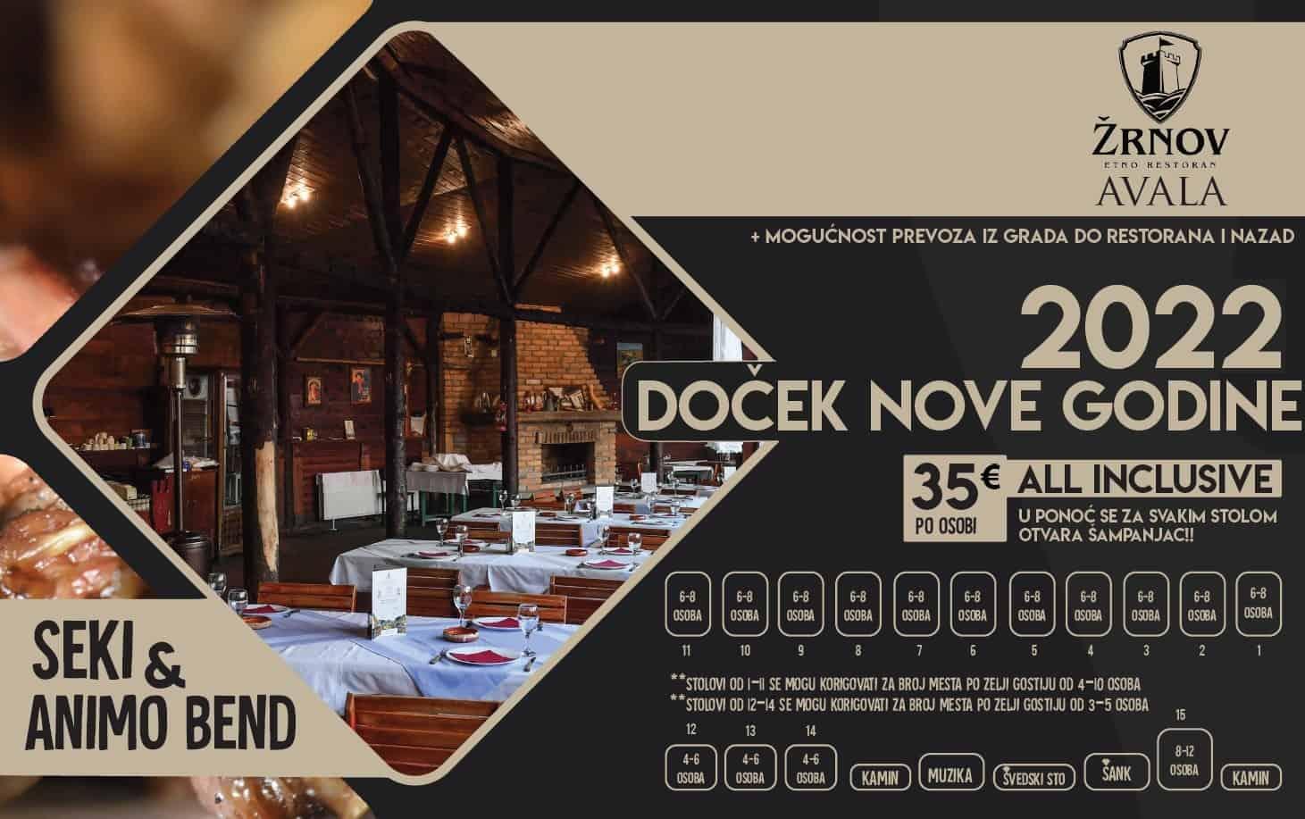 Etno restoran Žrnov Avala mapa sa rasporedom stolova za doček Nove godine 2022 Beograd