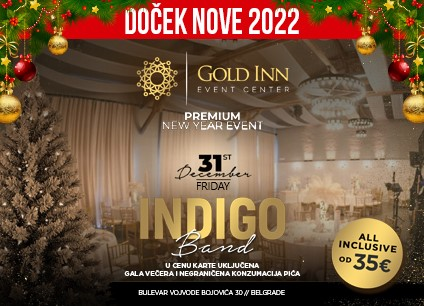Event Centar Gold Inn doček Nove godine 2022 Beograd