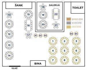 Event Centar Gold Inn mapa sa rasporedom stolova za doček Nove godine 2022 Beograd