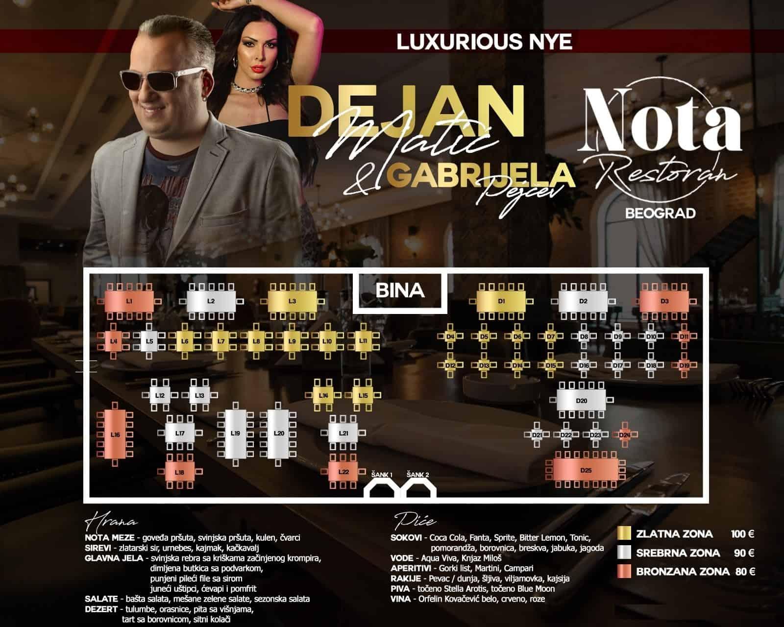 Garni Hotel Nota mapa sa rasporedom stolova za doček Nove godine 2022 Beograd
