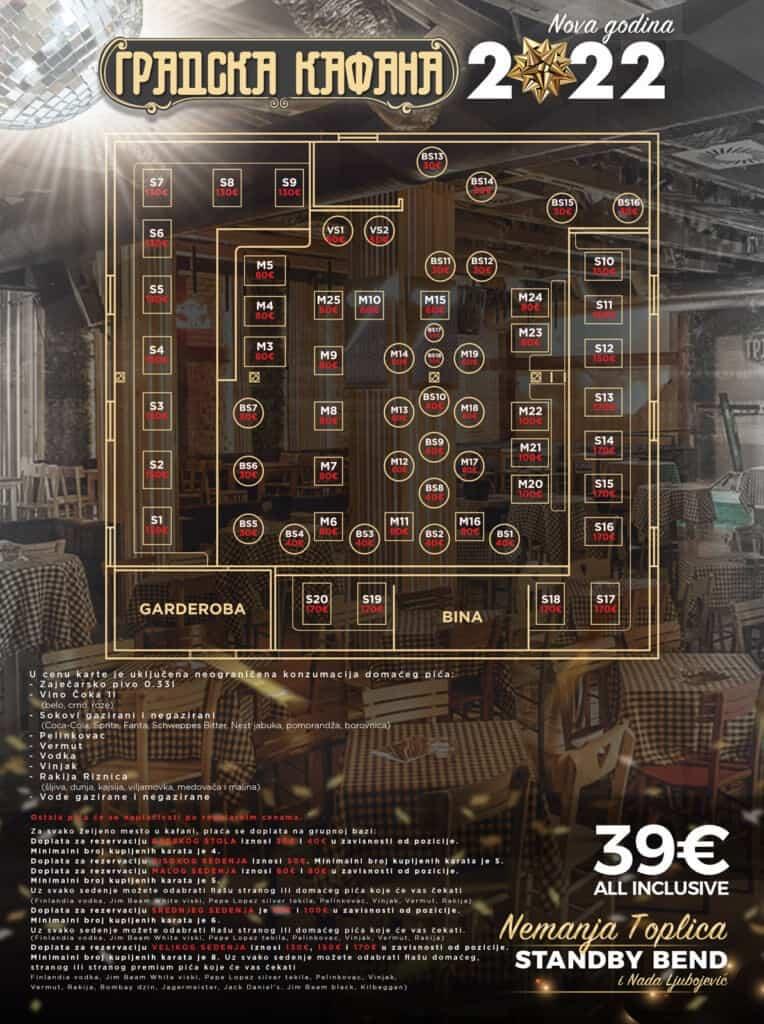 Gradska Kafana mapa sa rasporedom stolova za doček Nove godine 2022 Beograd