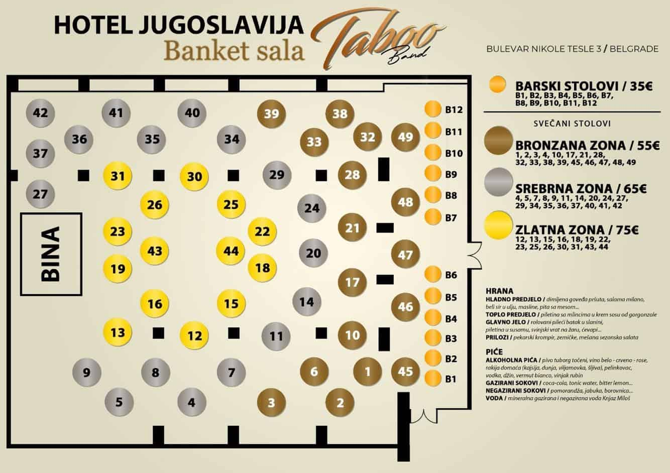Hotel Jugoslavija mapa sa rasporedom stolova za doček Nove godine 2022 Beograd
