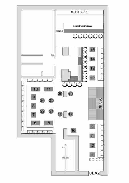 Klub Ambasada mapa sa rasporedom stolova za doček Nove godine 2022 Beograd