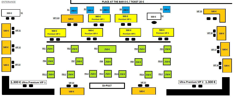 Klub Hype mapa sa rasporedom stolova za doček Nove godine 2022 Beograd