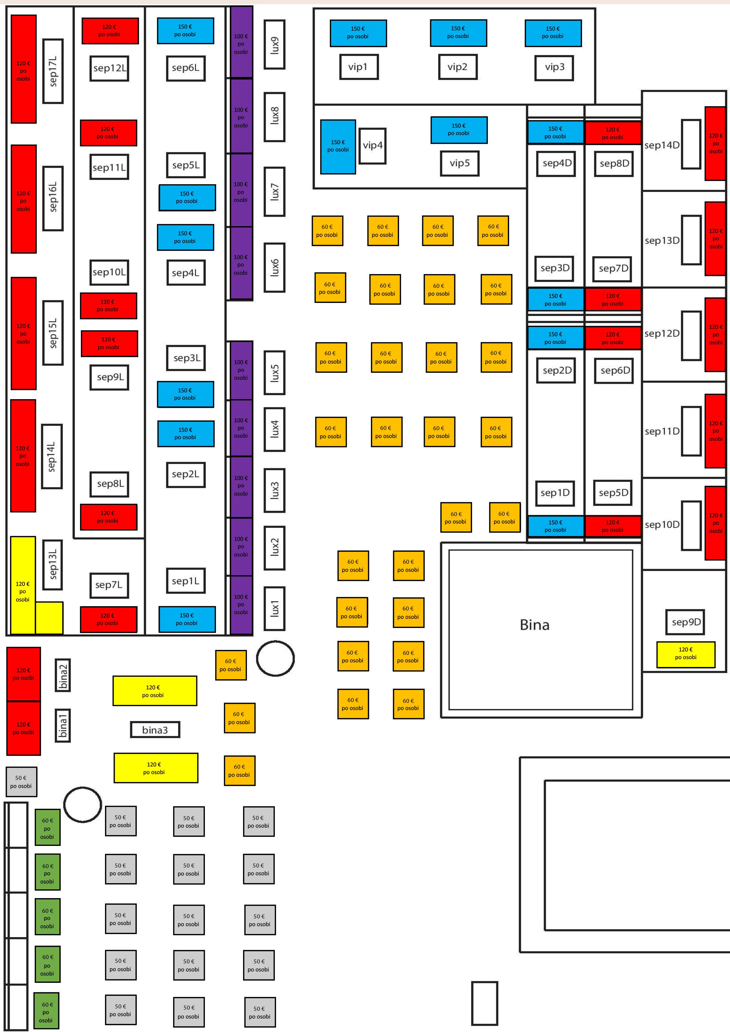 Klub Kasina By Community mapa sa rasporedom stolova za doček Nove godine 2022 Beograd