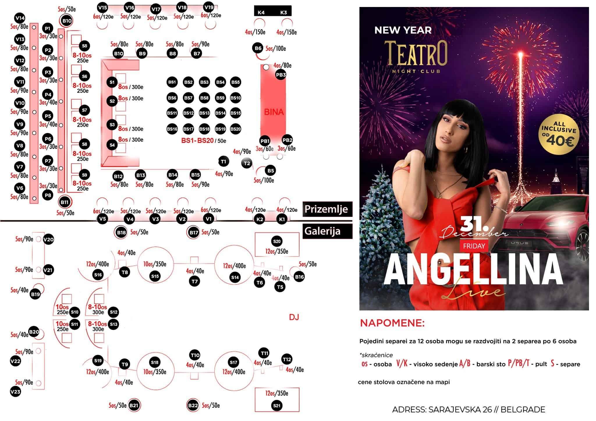 Klub Teatro mapa sa rasporedom stolova za doček Nove godine 2022 Beograd