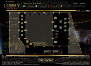 Lobby Event Centar mapa sa rasporedom stolova za doček Nove godine 2022 Beograd