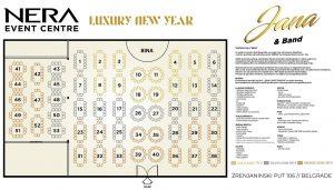 Nera Event Centar mapa sa rasporedom stolova za doček Nove godine 2022 Beograd
