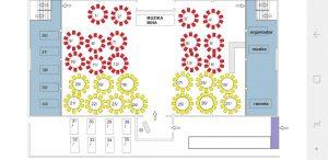 Event Centar Principessa mapa sa rasporedom stolova za doček Nove godine 2022 Beograd