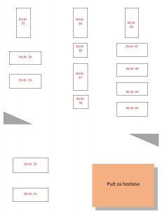 Restoran Bela Reka mapa sa rasporedom stolova za doček Nove godine 2022 Beograd