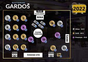 Restoran Gardoš mapa sa rasporedom stolova za doček Nove godine 2022 Beograd