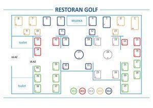 Restoran Golf mapa sa rasporedom stolova za doček Nove godine 2022 Beograd