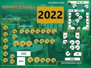 Restoran Milošev Konak mapa sa rasporedom stolova za doček Nove godine 2022 Beograd