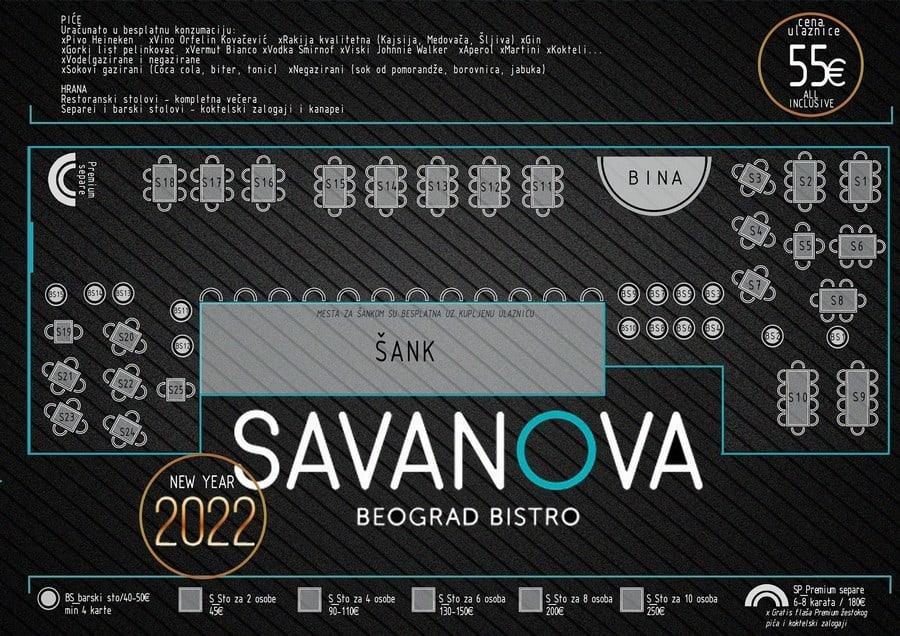 Restoran Savanova mapa sa rasporedom stolova za doček Nove godine 2022 Beograd