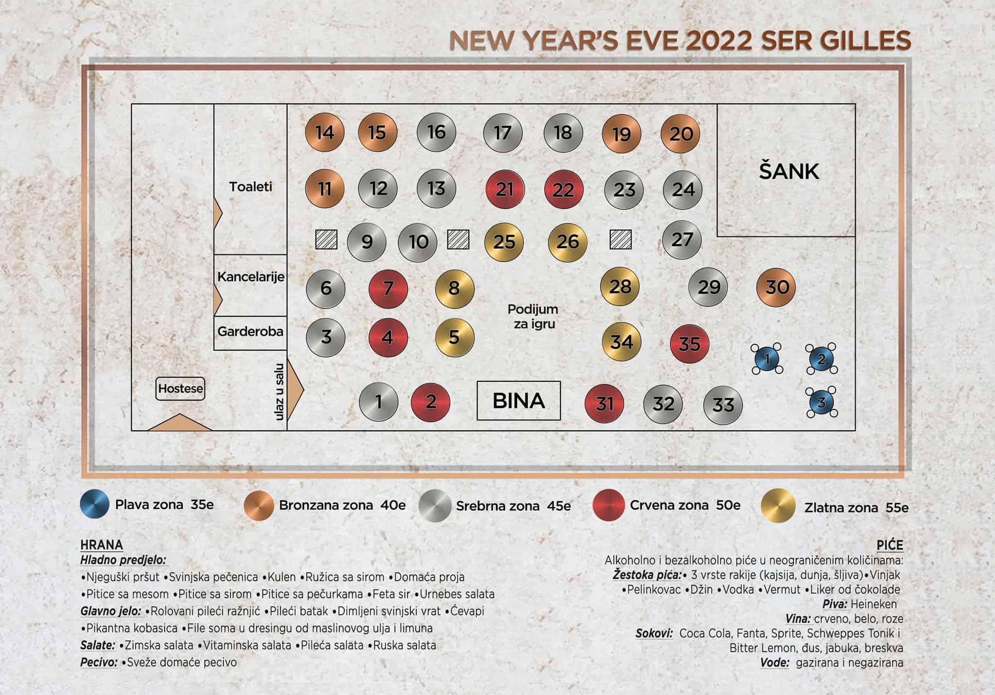 Restoran Ser Gilles mapa sa rasporedom stolova za doček Nove godine 2022 Beograd