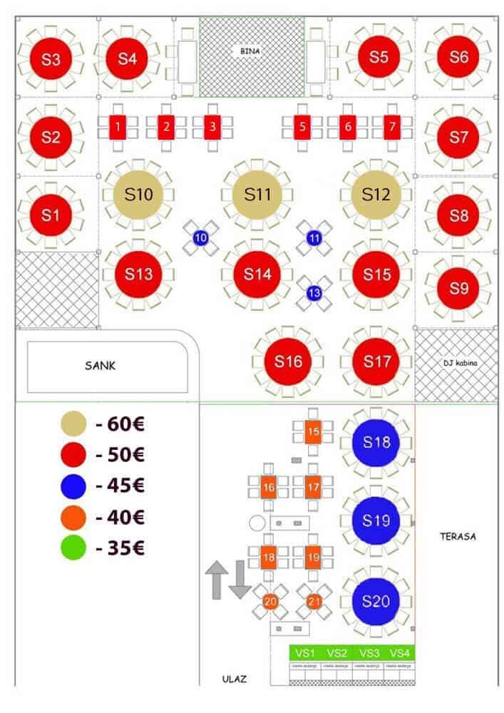 Restoran splav Amsterdam mapa sa rasporedom stolova za doček Nove godine 2022 Beograd