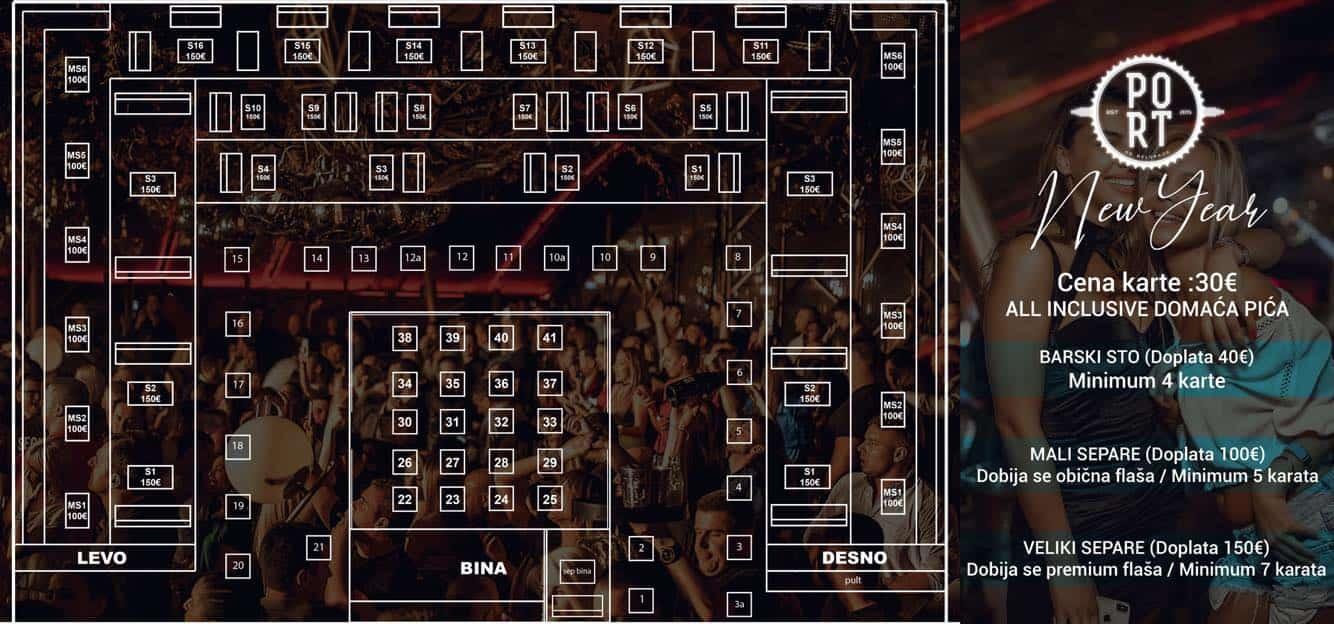 Splav Port By Community mapa sa rasporedom stolova za doček Nove godine 2022 Beograd
