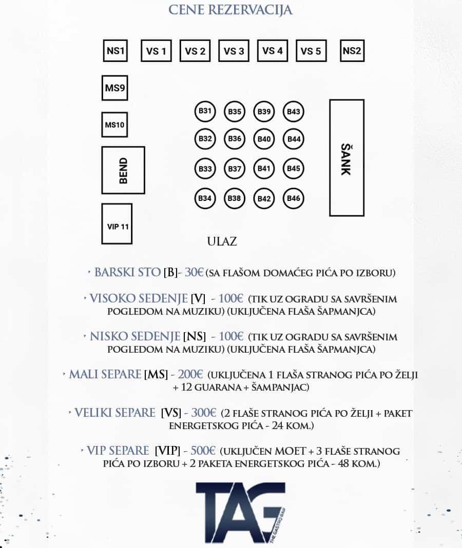 Splav Tag mapa sa rasporedom stolova za doček Nove godine 2022 Beograd