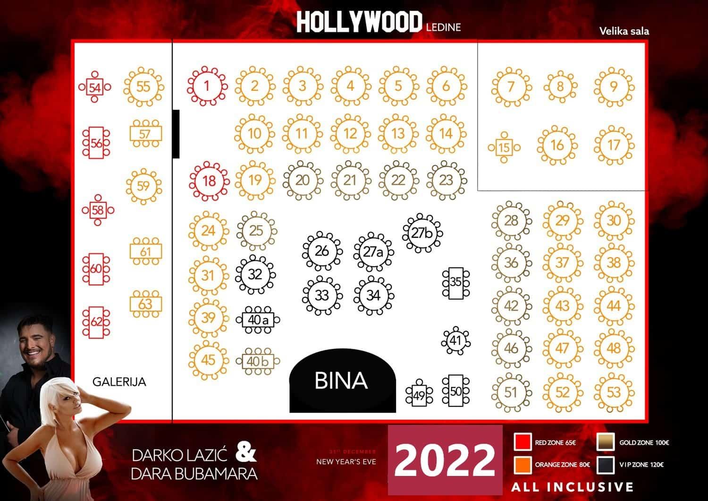 Svečana sala Hollywood Ledine mapa sa rasporedom stolova za doček Nove godine 2022 Beograd