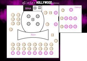 Svečana sala Inter Hollywood Voždovac mapa sa rasporedom stolova za doček Nove godine 2022 Beograd