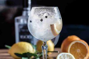 Čaša džina sa korom limuna na šanku