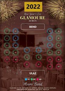 Glamoure Event Centar mapa sa rasporedom stolova za doček Nove godine 2022 Beograd