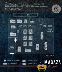 Restoran Magaza mapa sa rasporedom stolova za doček Nove godine 2022 Beograd
